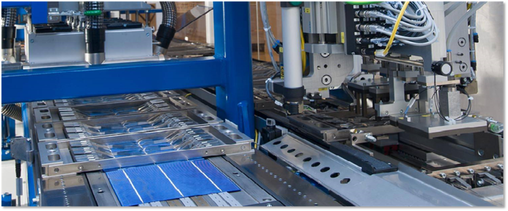 Automated photovoltaic manufacturing equipment, with endless stainless steel conveyor belt.