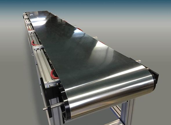 Stainless steel belt conveyor - Steel belt system