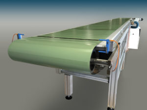 A wide metal belt on a Belt Technologies conveyor system demonstrates the versatility of metal belts that are both wide and extremely thin while maintaining a high strength-to-weight-ratio.