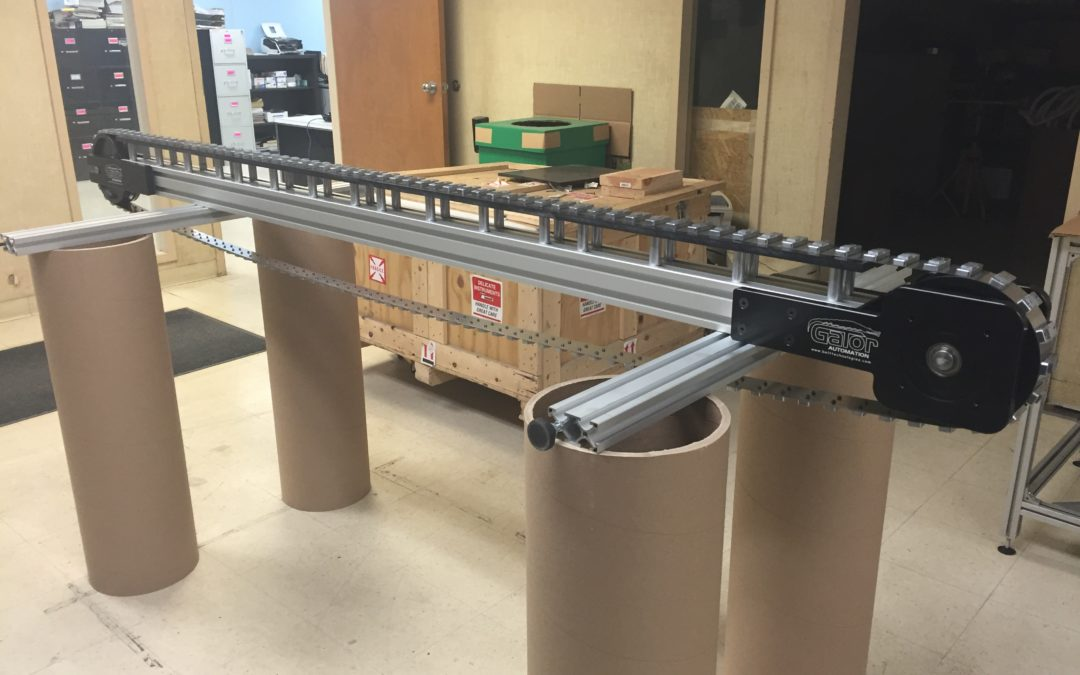 Stainless Steel Conveyor Belt with Custom Product Handling Attachments for Electrical Connector Component Manufacturing